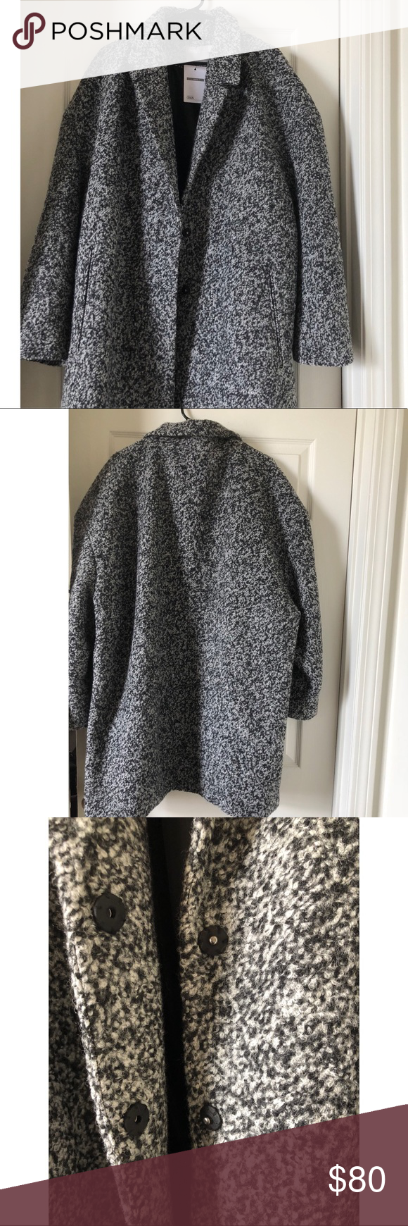 2ca5d97e15e Asos Curve Coat Black and White Asos Curve Coat in Cocoon Texture ASOS  Curve Jackets   Coats Pea Coats