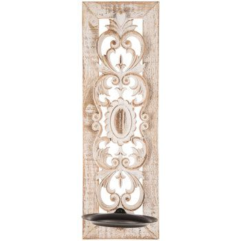 White Flourish Wood Wall Sconce   Wall sconces living room ... on Wall Sconces Hobby Lobby id=81339