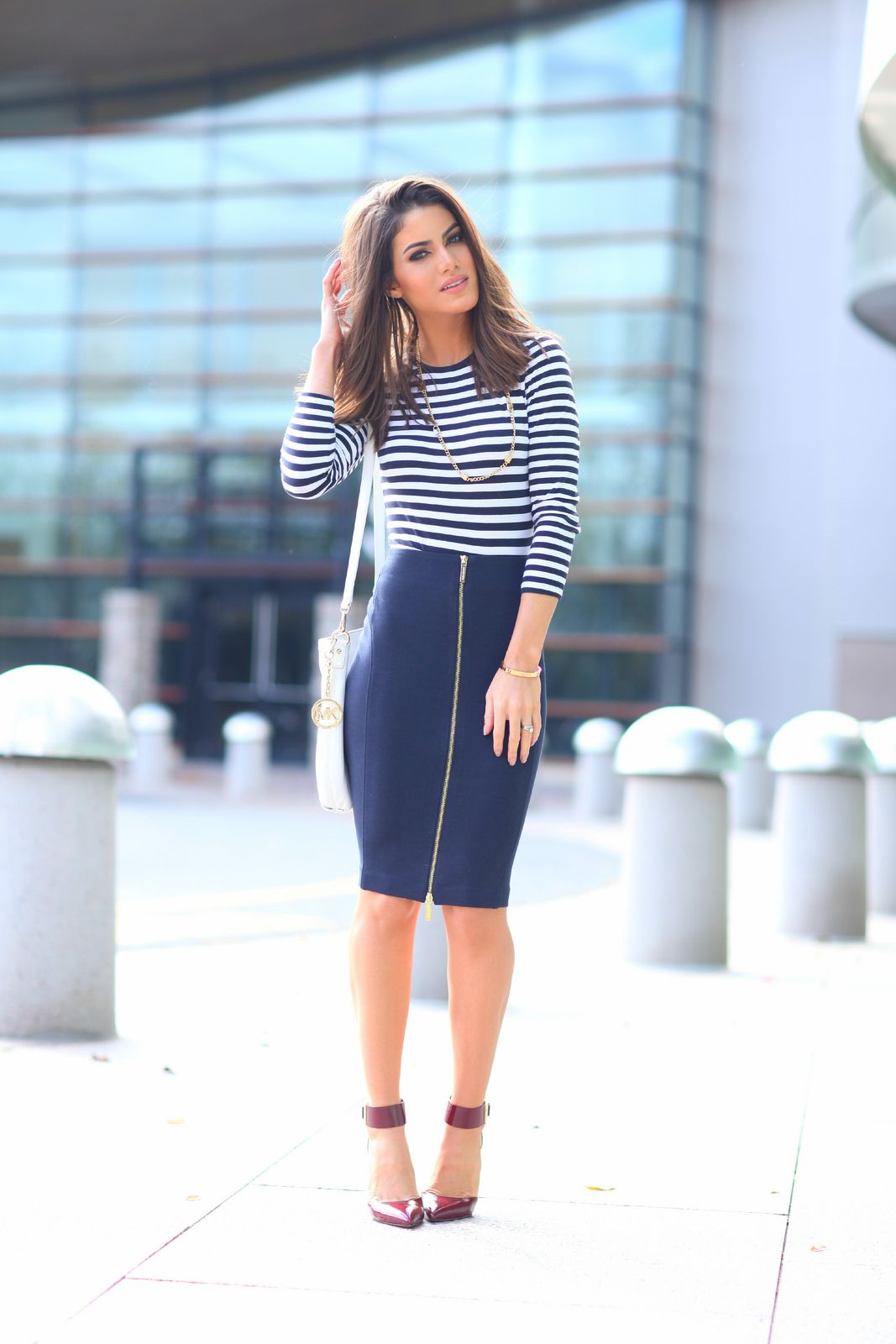 Suficiente Look do dia: Chic Navy style | Blusas listradas, Saia lapis e Lápis NB24