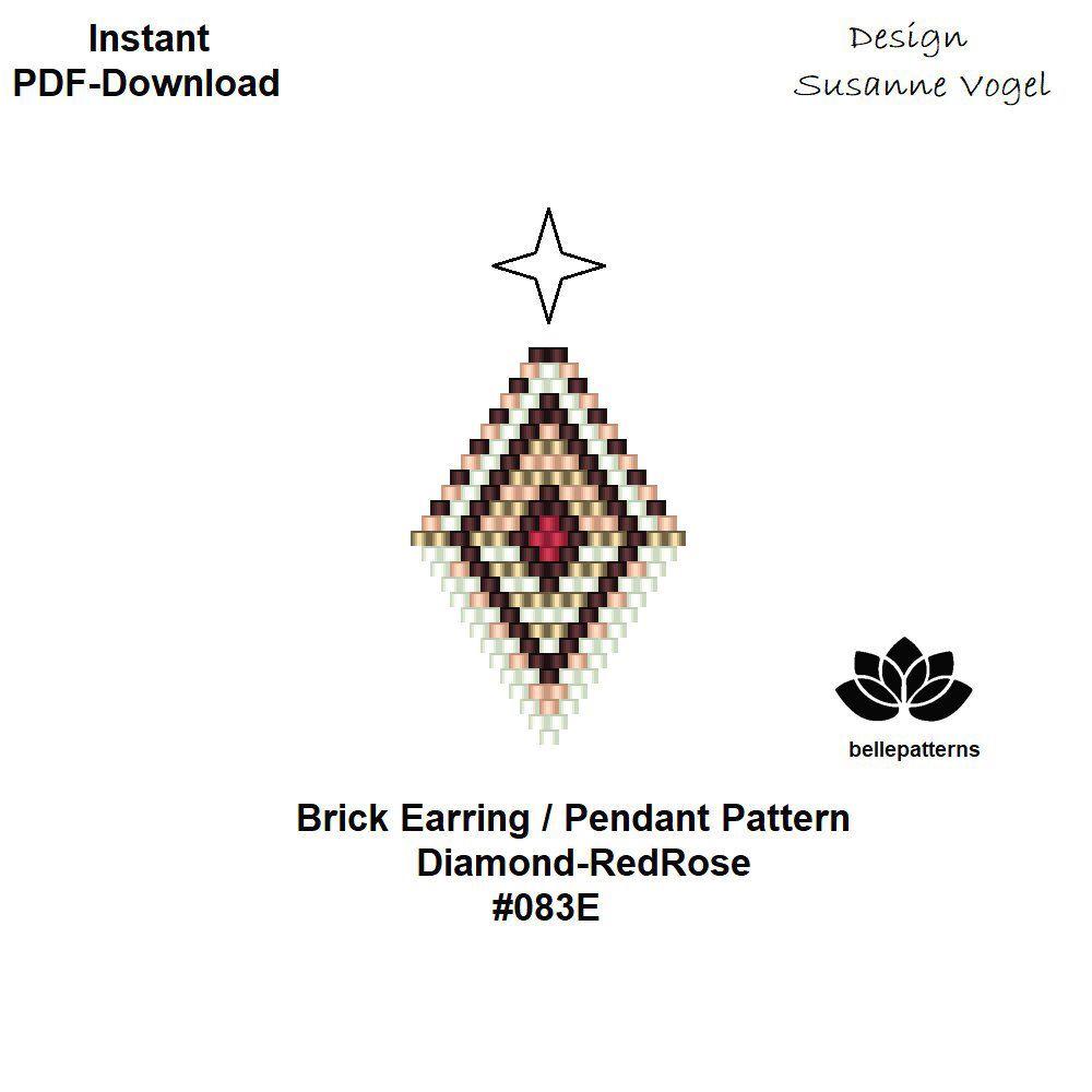 beaded earring pattern,brick stitch,pdf-download,#083E,DIY,beading ...