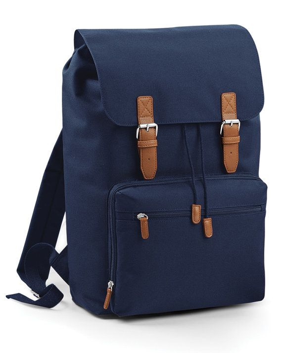 Vintage Style Laptop Backpack  Laptop compatible up to 17 Padded laptop compartment Padded adjustable shoulder straps Padded back panel Draw cord