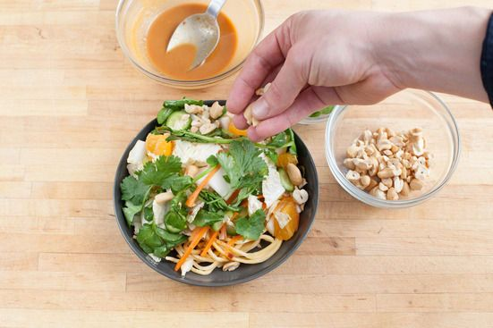 Chopped Asian salad with peanut soy dressing
