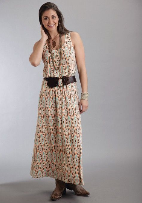 Stetson® Orange Printed Maxi Dress | Aztec print maxi dress