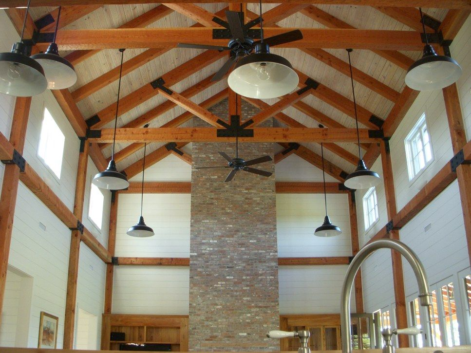 Barn building truses exposed beams google search barn for Exposed trusses cost