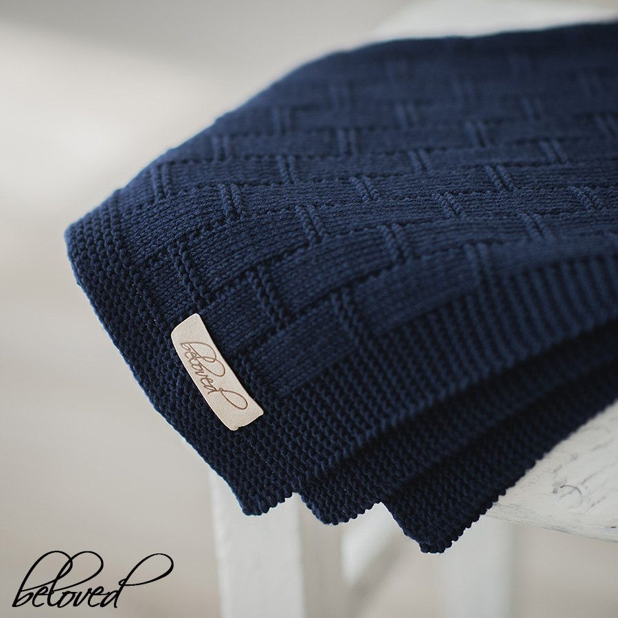 Navy Blue Baby Boy Blanket, Knitted Baby Blanket, Knit Baby Afghan ...