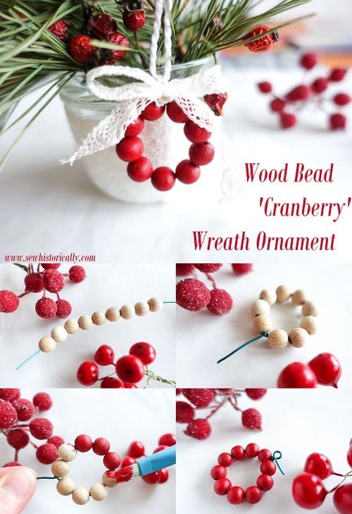 Photo of DIY Wood Bead 'Cranberry' Wreath Ornament – Sew Historically