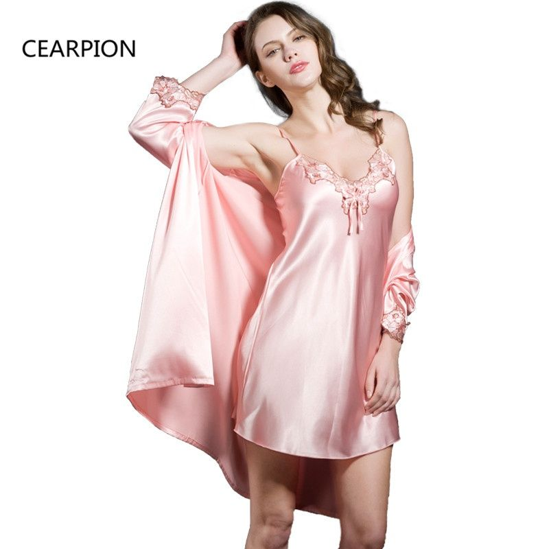 1aa7ed1c95bd CEARPION Lace Embroidery 2PCS Nighty Robe Set Sexy Kimono Bathrobe Gown  Women s Sleepwear Satin Nightwear Casual Home Clothes