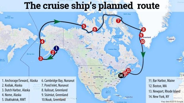 Arctic rescue fears loom as cruise ship reas to sail ... on seattle cruise ship terminal map, pacific northwest inside passage map, carnival cruise routes map, alaska cruise ports map, cruise ship port vancouver map, princess alaska cruise routes map, carnival alaska cruise map, global shipping routes map,