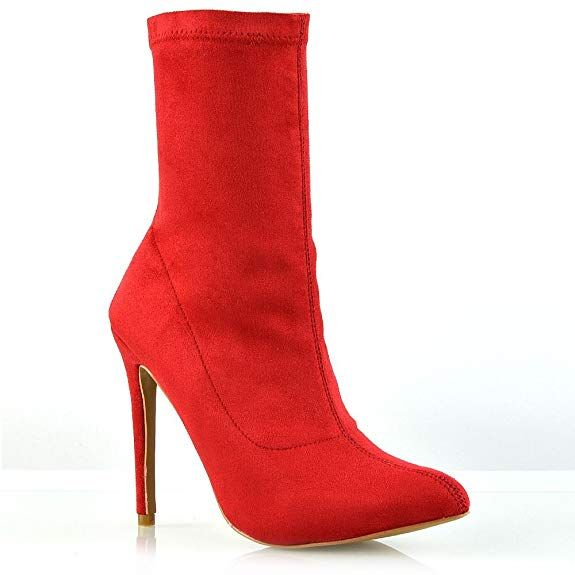 96100ab3f7a ESSEX GLAM Womens High Stiletto Heel Red Faux Suede Pointed Toe Ankle Boots  |#bootsforwoman |#boots |#shoesforwoman