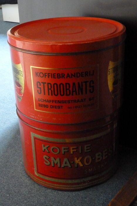 Online veilinghuis Catawiki: 2 Grote voorraad koffieblikken  Stroobants en sma-ko-best uit Diest