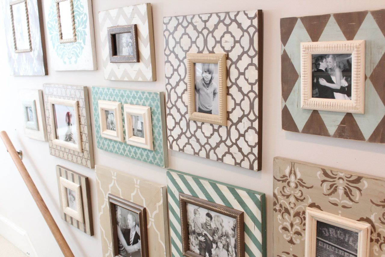 Stairwell grouping of frames set in vintage by deltagirlframes