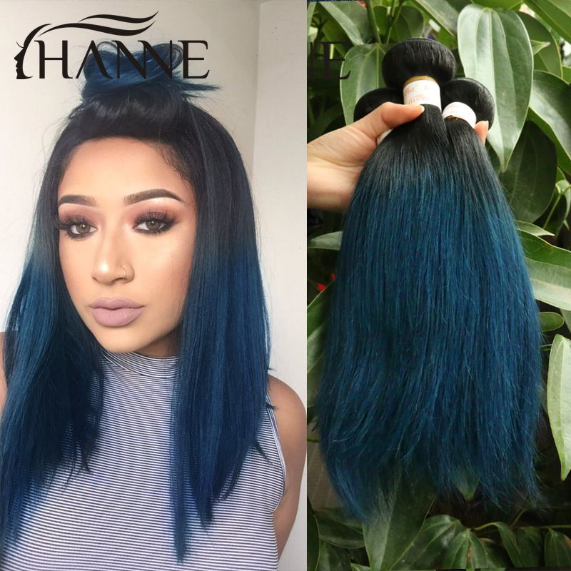 Straight Peruvian Dark Roots Blue Ends Human Hair 3pcs Lot Remy Hair Blue Ombre Weave 2tone Ombre Turquoise Hair Ombre Hair Extensions Hair Color For Black Hair