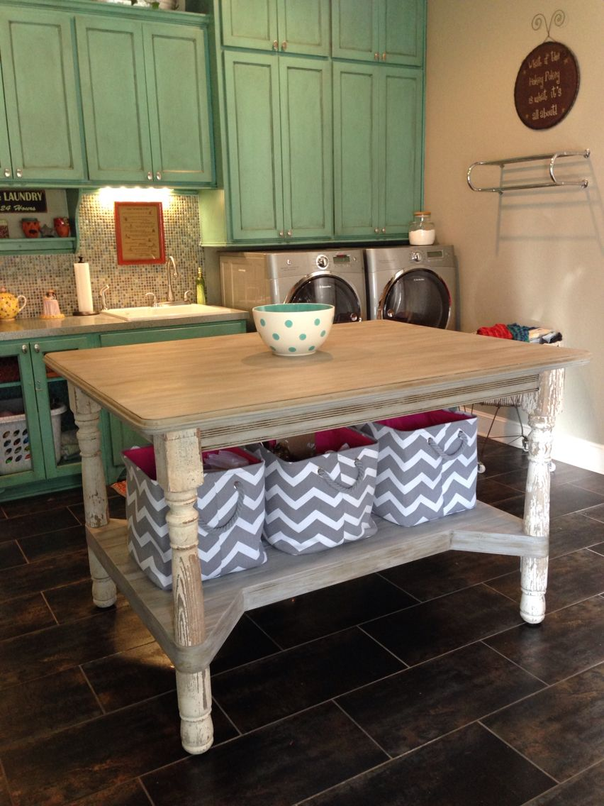 Laundry Room Work Table Made From 100 Year Old Porch Posts New Wood Is