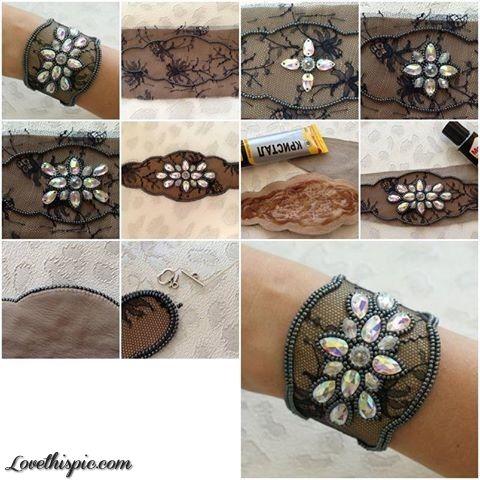 Diy Jewel Lace Bracelet Bracelet Craft Diy Jewelry Diy Bracelets Diy Bracelets