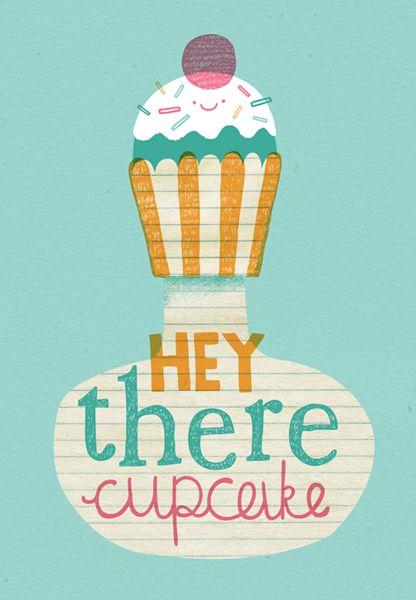 Steph Says Hello - Hey There Cupcake greetings card