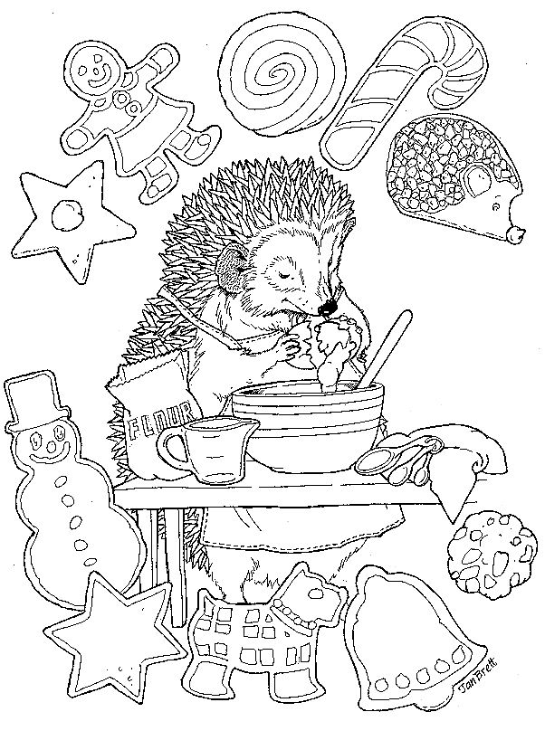 baking coloring pages Christmas Hedgie Baking Color Page | Christmas Cheer | Coloring  baking coloring pages