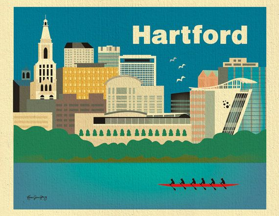 Great Hartford Connecticut Skyline Print Wall Art For By Loosepetals