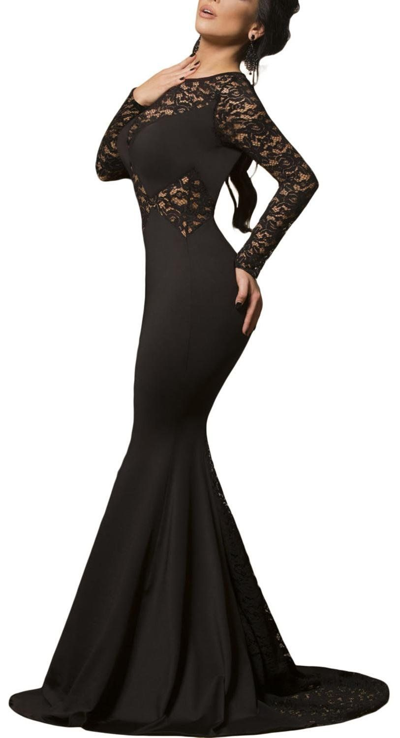 6a0ae491d867 IF FEEL Womens Black Lace Sleeve Sexy Mermaid Prom Evening Dress at Amazon  Women s Clothing store