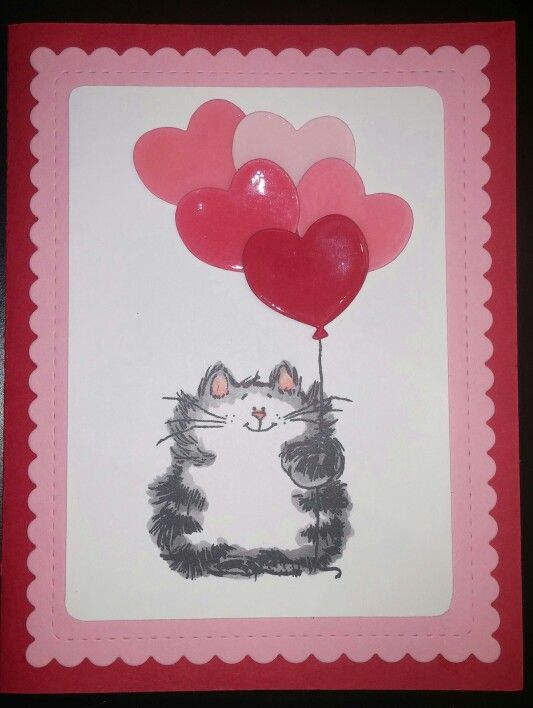 Penny Black Purrfect Day with heart balloons that have been covered in Crystal Effects. Wplus9 scallop and stitch frame Stampin Up real red, pretty in pink and whisper white. Valentine's Day card