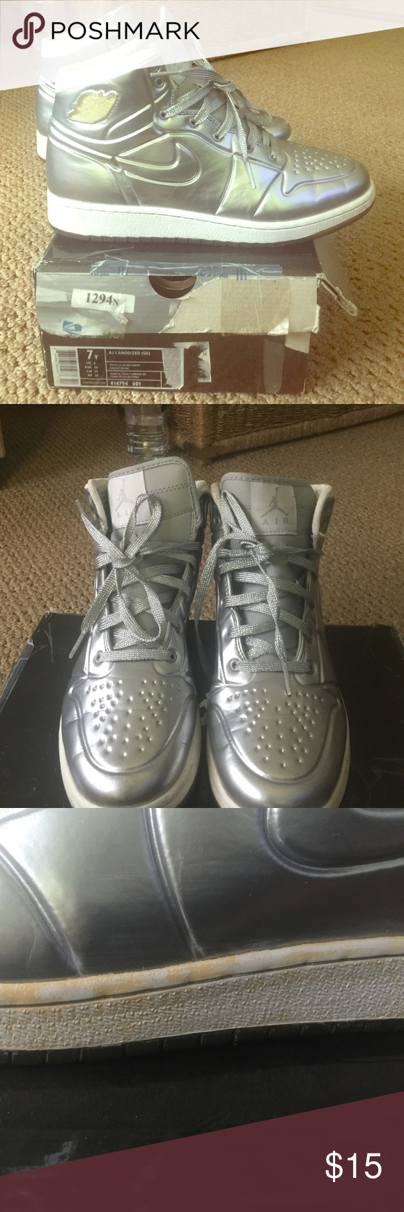 buy online 6ceec 48517 ... sweden air jordan 1 anodized metallic silver d sneakers and shoes  sneakers 5d0d8 b42a2