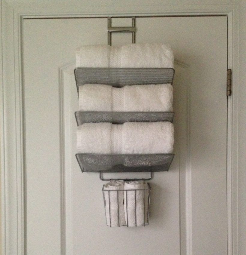 Accessories Sophisticated Back Door Mounted Iron Towel Storage Hang On White Wooden Bathroom Doors As E Saving Furniture Ideas Brushed