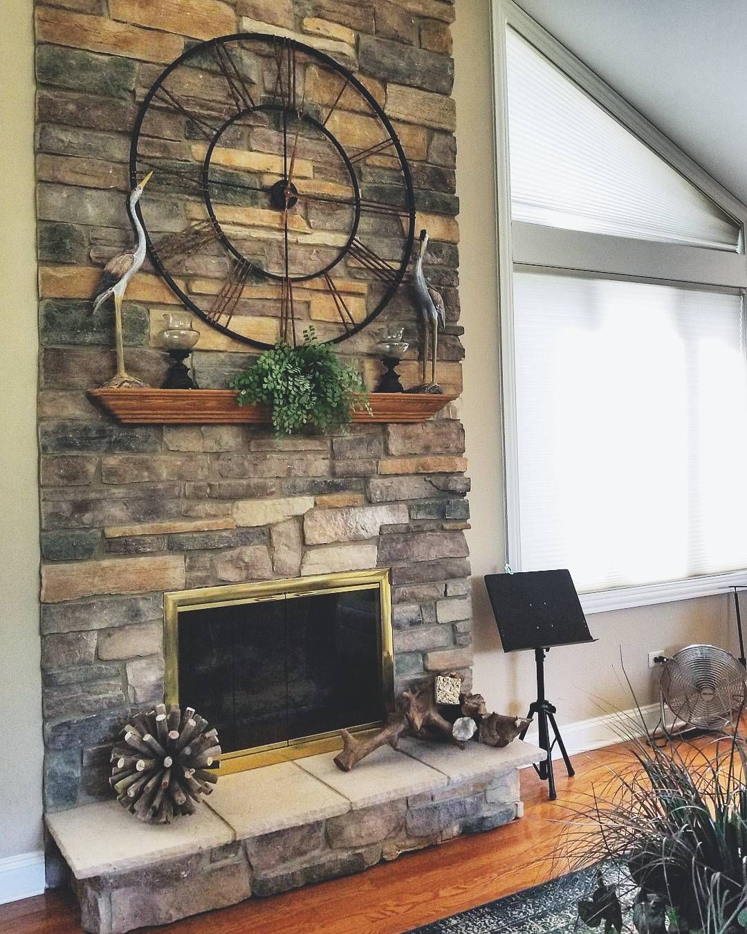 Stone Fireplace Accessories Riverstone Rustic Wall Clock Designed By Michelle Micolta Farm House Living Room Stone Fireplace Fireplace