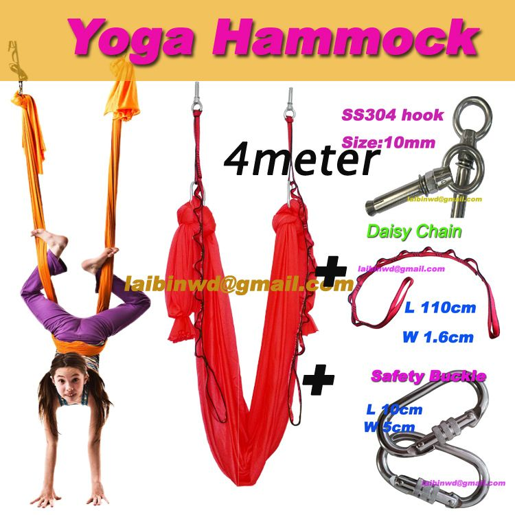 Medium image of aliexpress     buy 4meter full set aerial yoga hammock pilates workout yoga inversion swing trapeze anti gravity fitness fast express freeship from