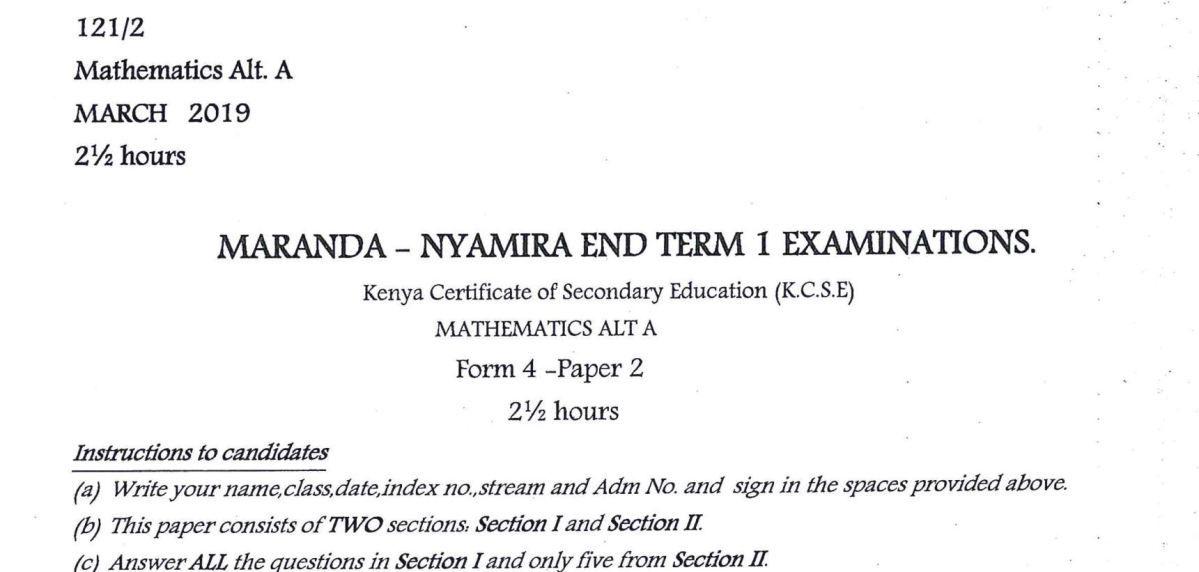Maranda High Form 4 Mathematics Paper 2 (End Term 1, 2019)   Kenyan
