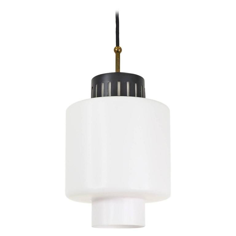 Stilnovo Glass and Lacquered Aluminum Pendant   From a unique collection of antique and modern chandeliers and pendants at https://www.1stdibs.com/furniture/lighting/chandeliers-pendant-lights/