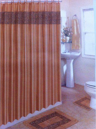 4 Piece Bath Rug Set /Brown Leopard Bathroom Rugs with Fabric Shower ...