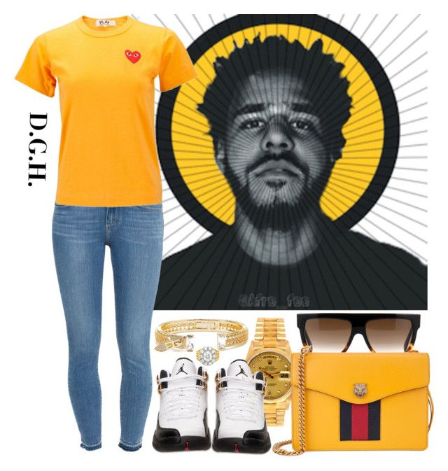 """""""Yellow."""" by dopegenhope ❤ liked on Polyvore featuring CÉLINE, Rolex, Paige Denim, Comme des Garçons, Gucci and Fallon"""