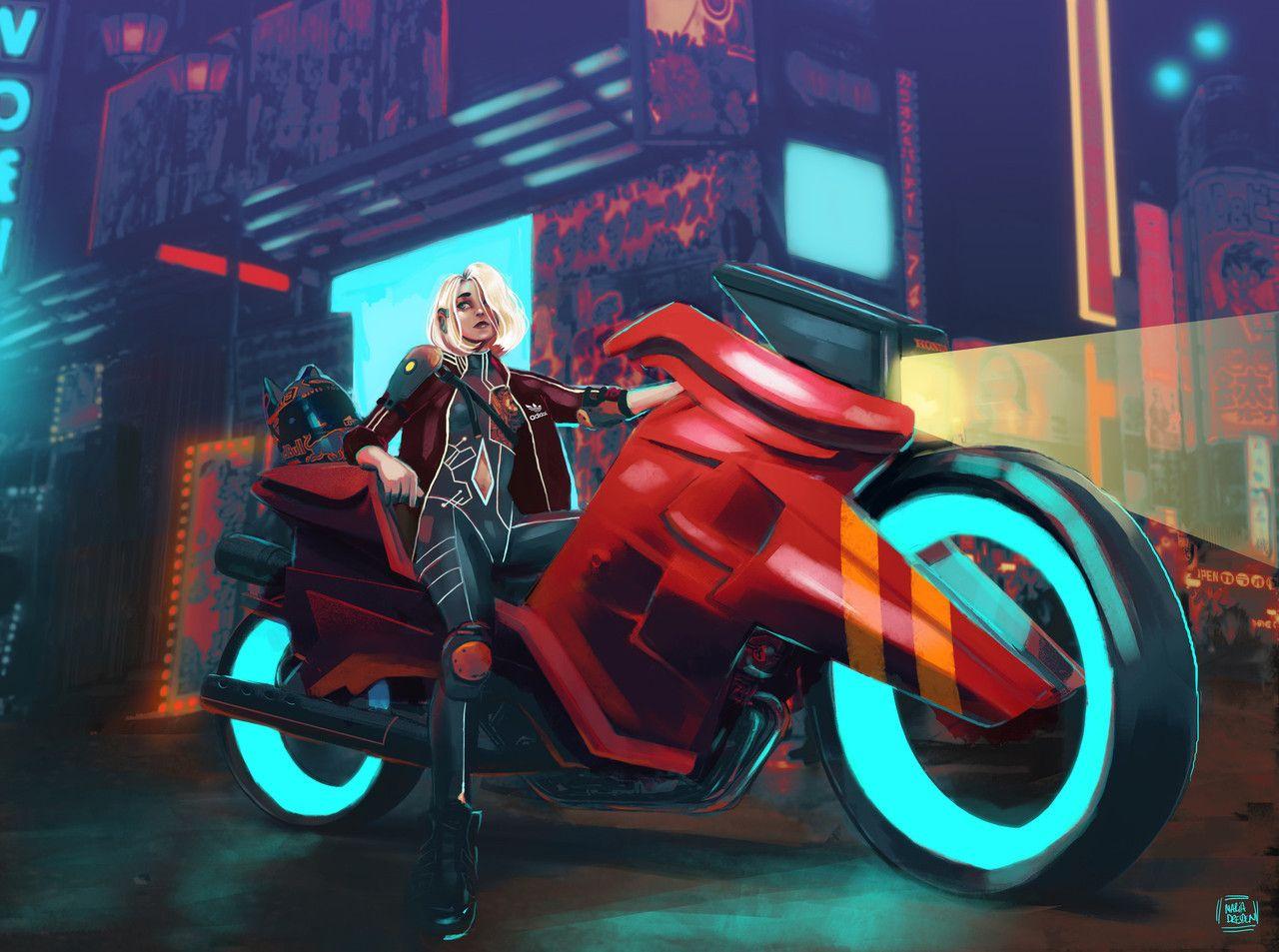 artstation artwork veichle motorbike character