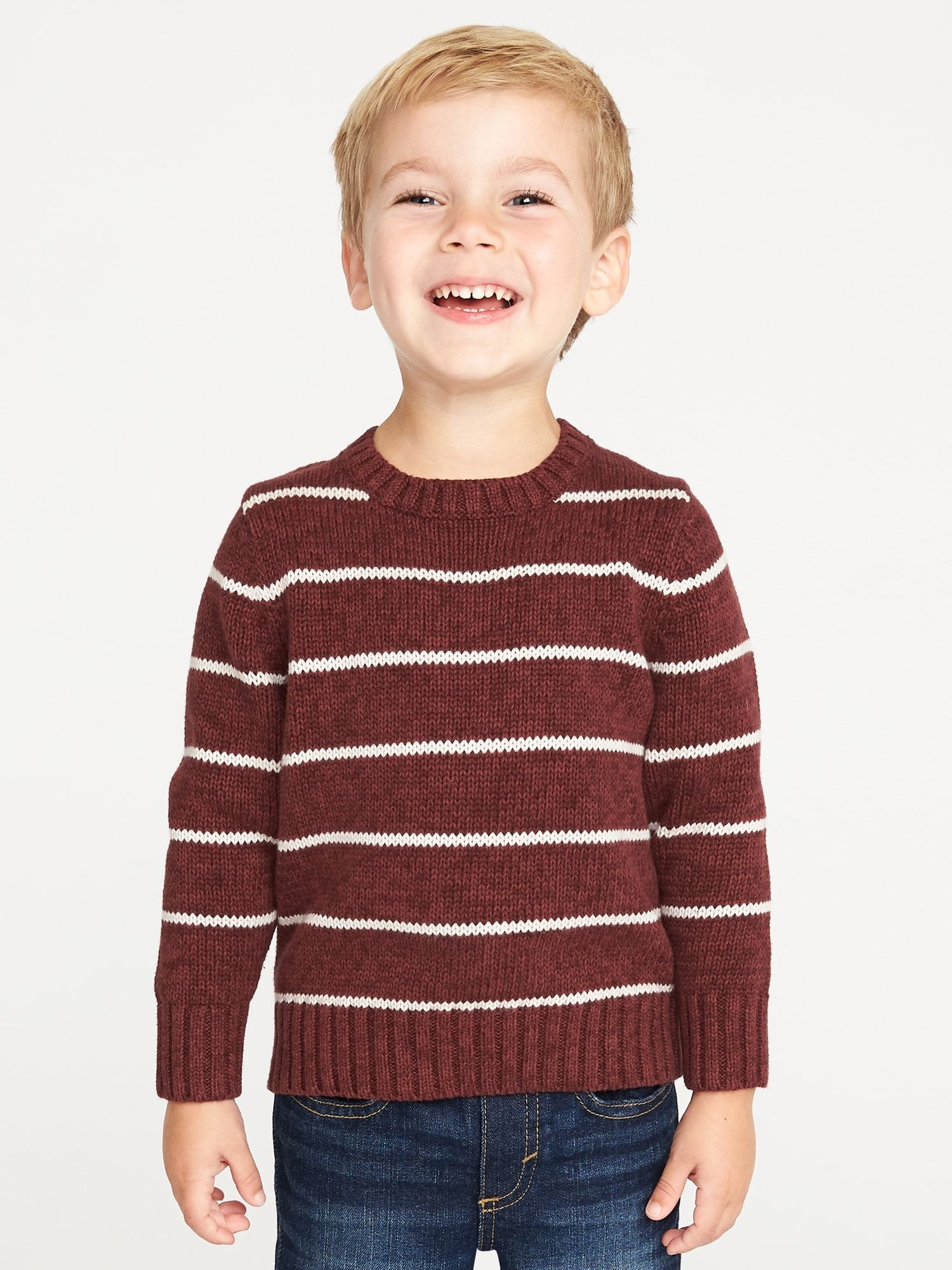Striped Crew-Neck Sweater for Toddler Boys | Christmas Mini Outfit ...