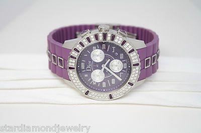 Christian Dior Unisex CD11431JR001 Christal Chronograph Diamond Purple Watch