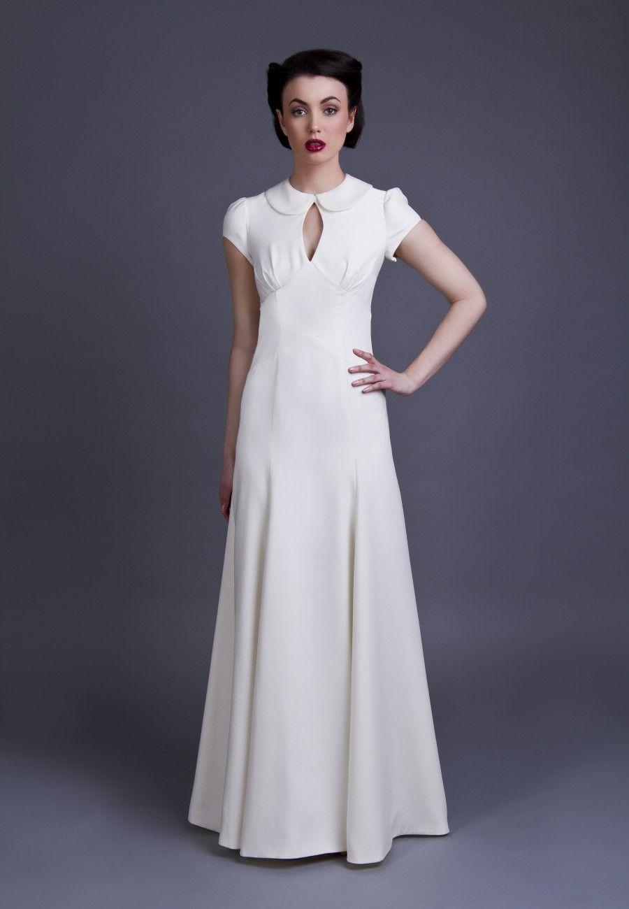 1940s inspired full length, full hemmed wedding dress featuring high ...