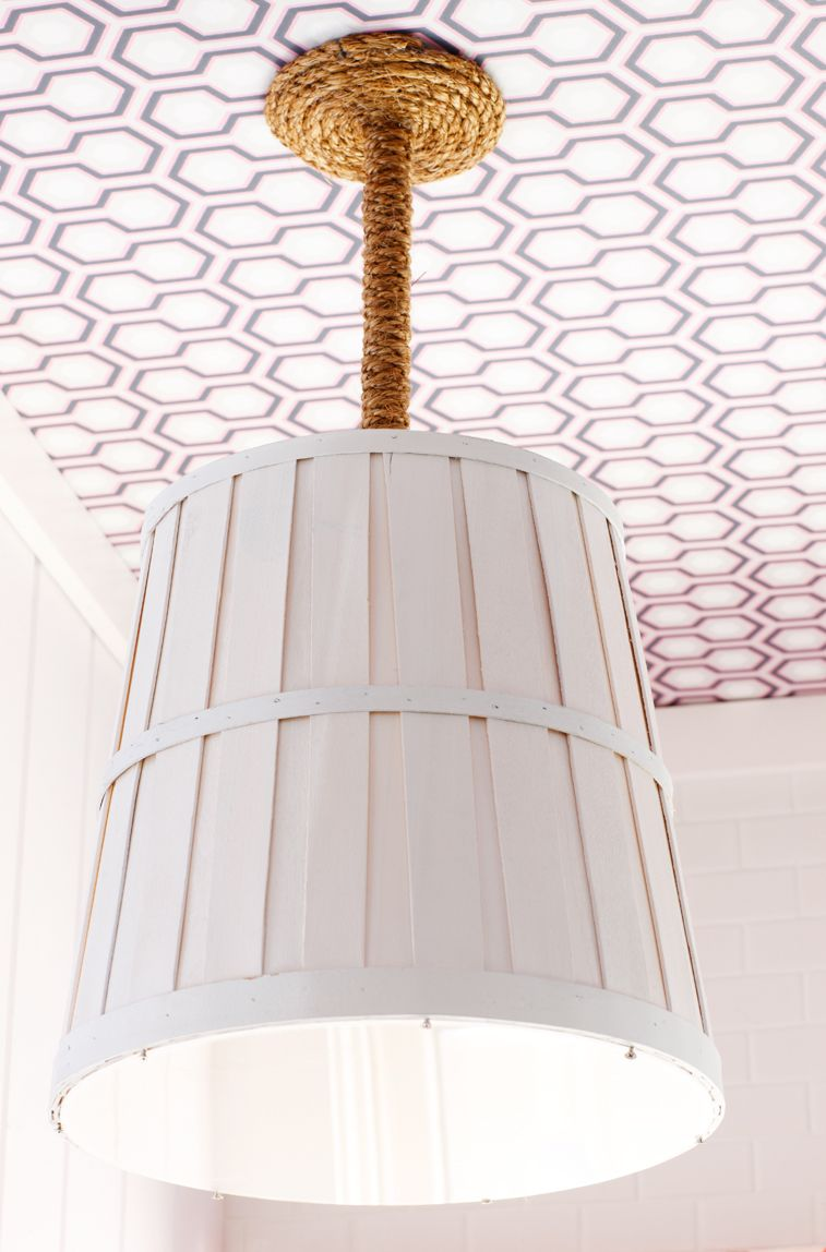 Ikea baskets used as pendants thanks to rope pendant kits and