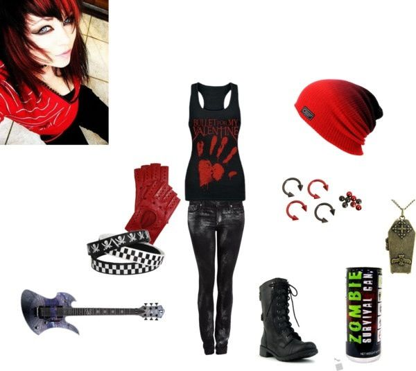 Emo Style Girls Outfits Red And Black Hailie With A Touch Of