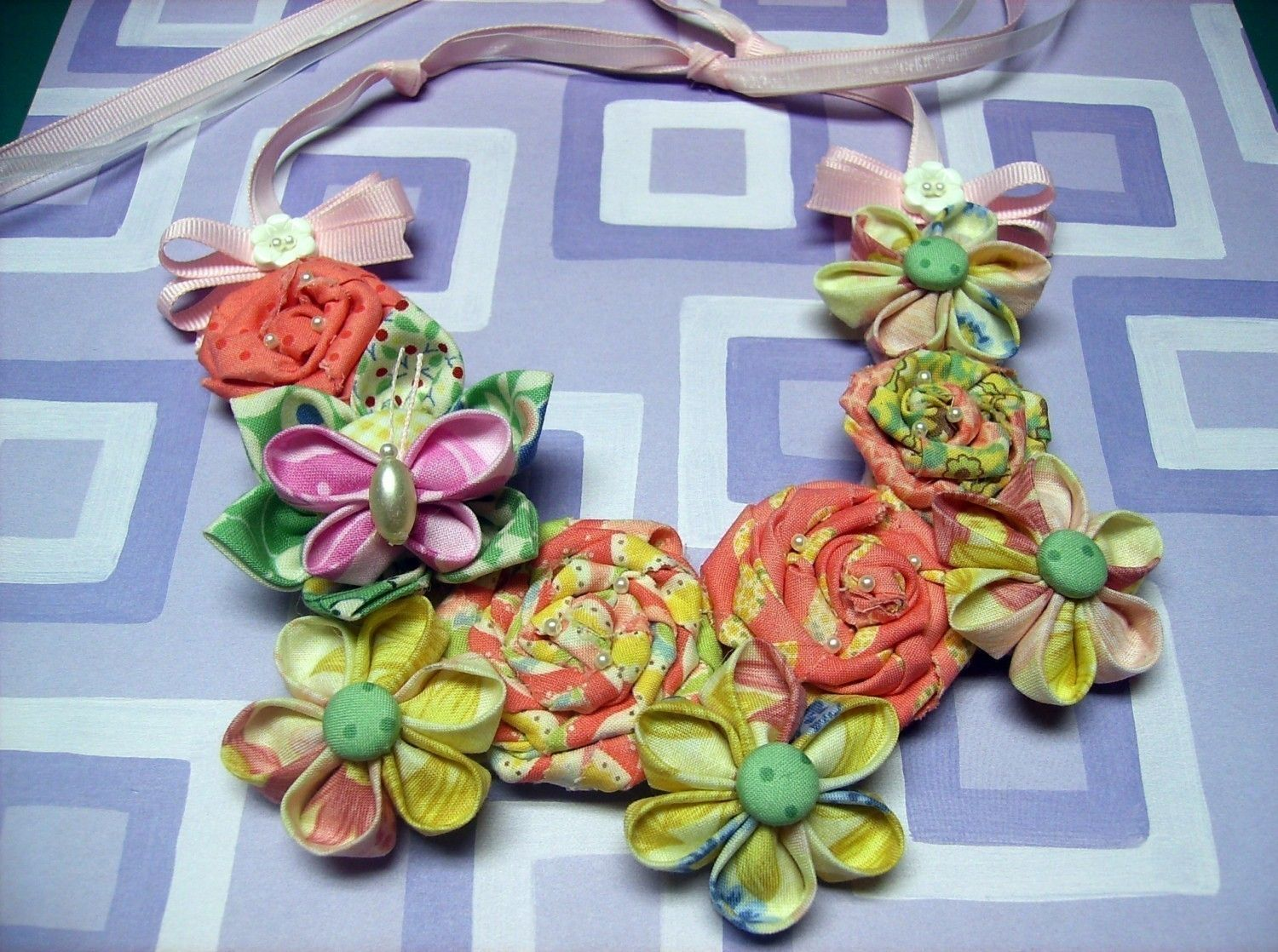 Fabric Flower Bib Necklace Tutorial ... Includes All 3 Fabric Flowers. $18.00, via Etsy.