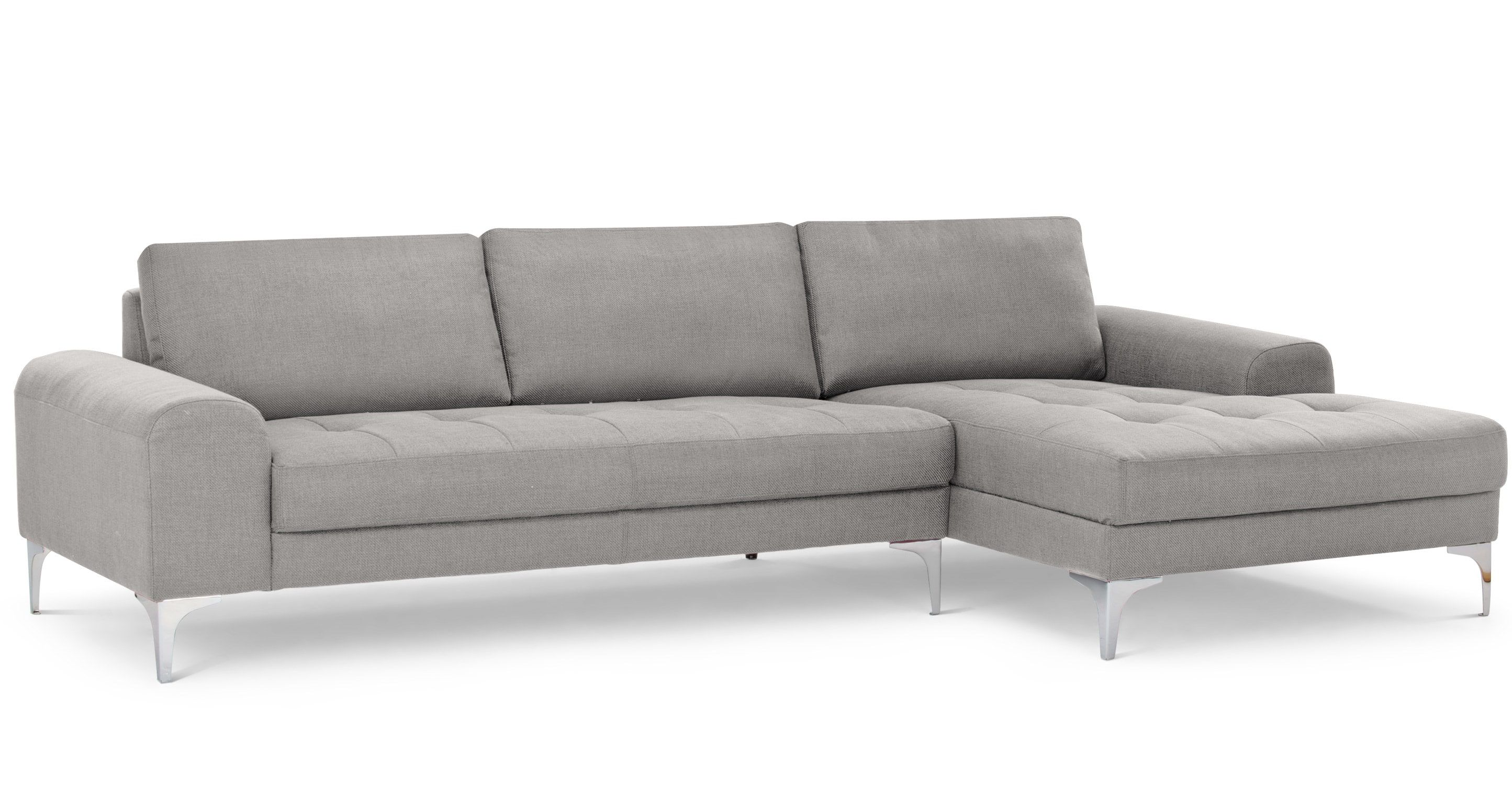 Vittorio Right Hand Facing Chaise End Corner Sofa Pearl Grey Leather Corner Sofa Corner Sofa Grey Corner Sofa