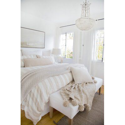 Pom Pom At Home With broad stripes on one side, the Carter collection is reversible and offers versatility with its neutral colors. Perfect for those that like to switch things up! Color: Ivory/Amber, Size: Queen Duvet Cover