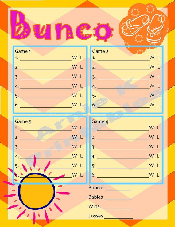 This listing is for a fun Summer themed Bunco party It includes a - bunco score sheets template