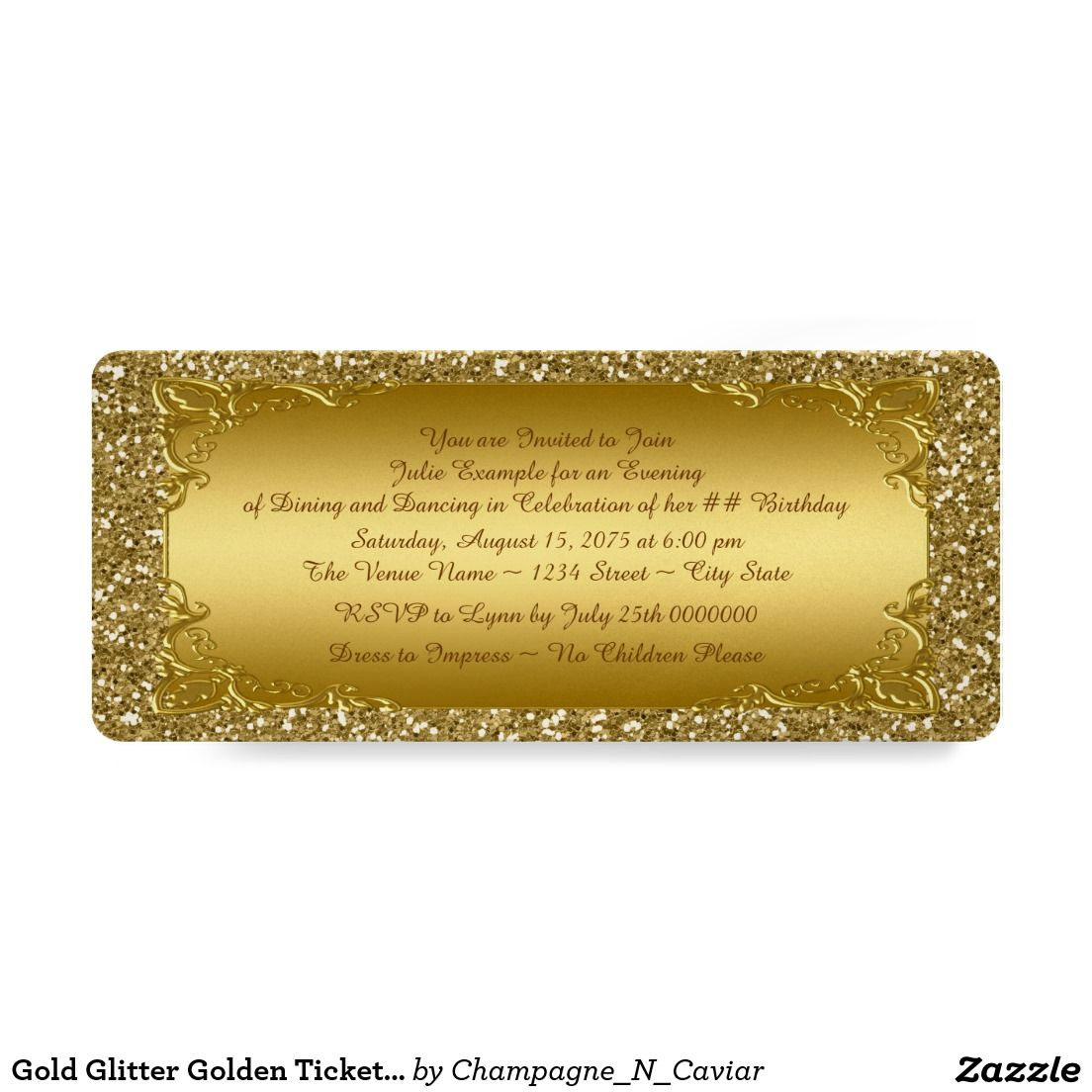 Gold Glitter Golden Ticket Party 4x9.25 Paper Invitation Card ...