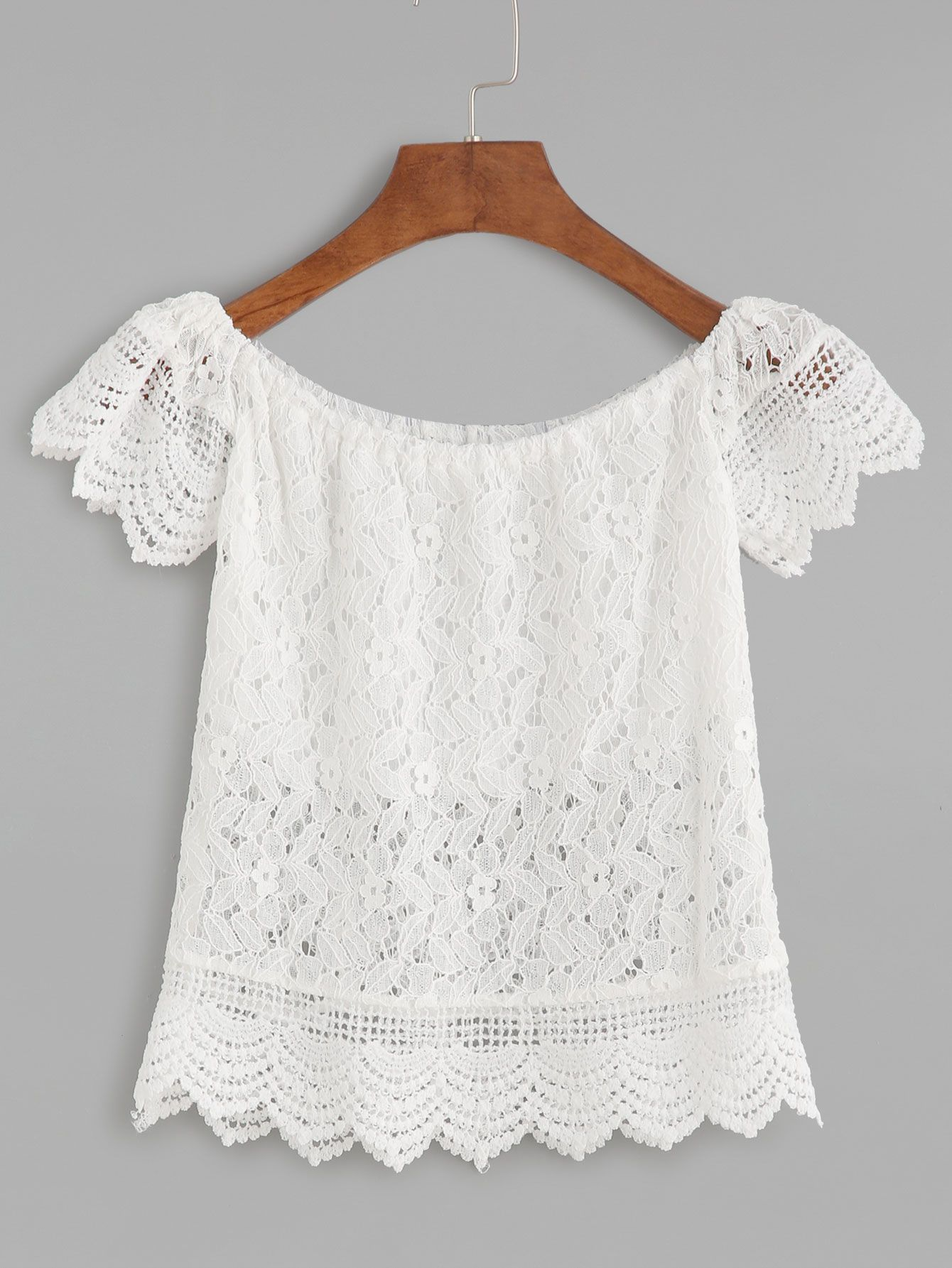 33fc2ce3e9f Shop Boat Neck Crochet Lace Scalloped Hollow Out Blouse online. SheIn  offers Boat Neck Crochet Lace Scalloped Hollow Out Blouse & more to fit  your ...
