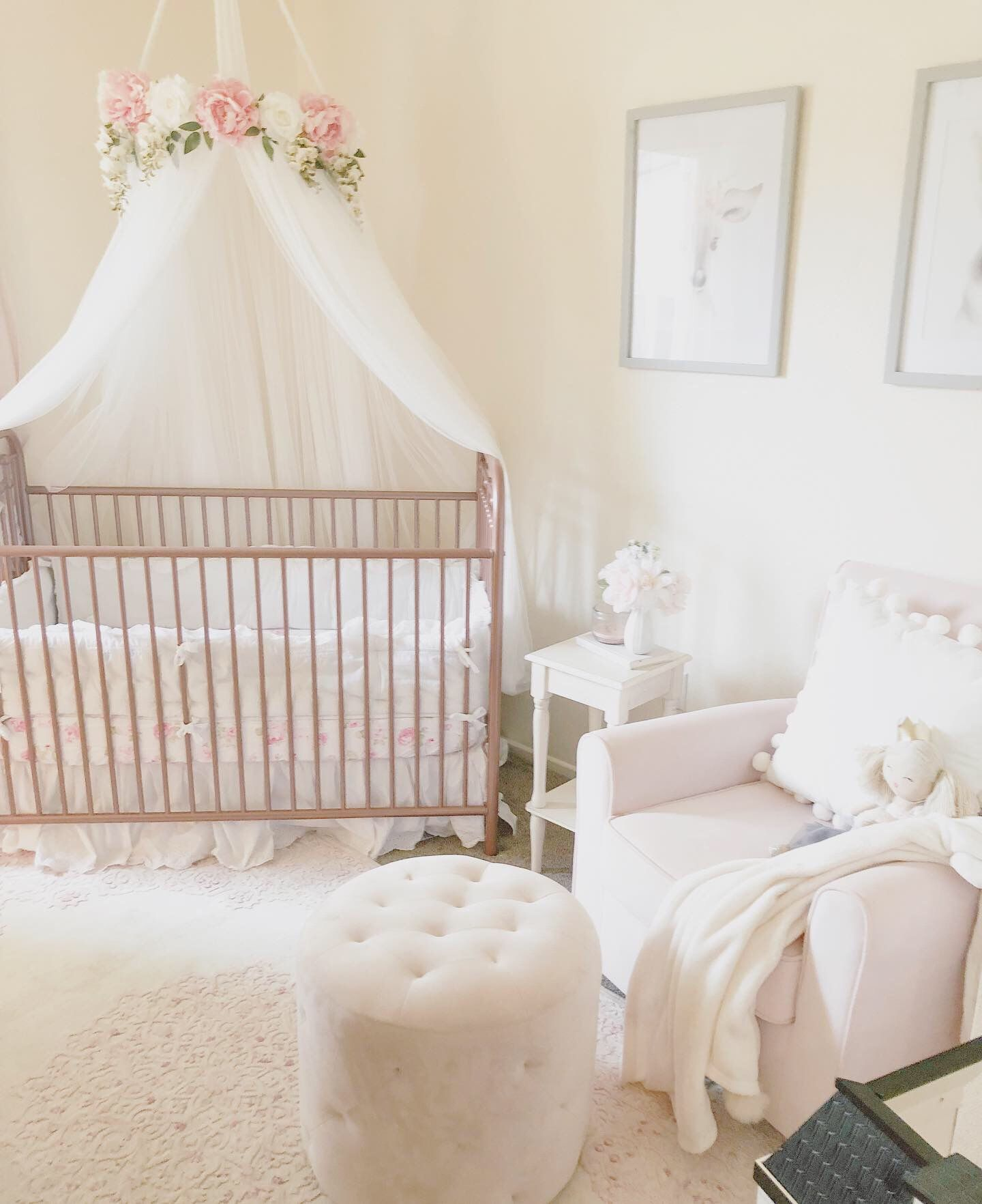 Beautiful Serene And Light Nursery With Floral Crib Canopy Baby