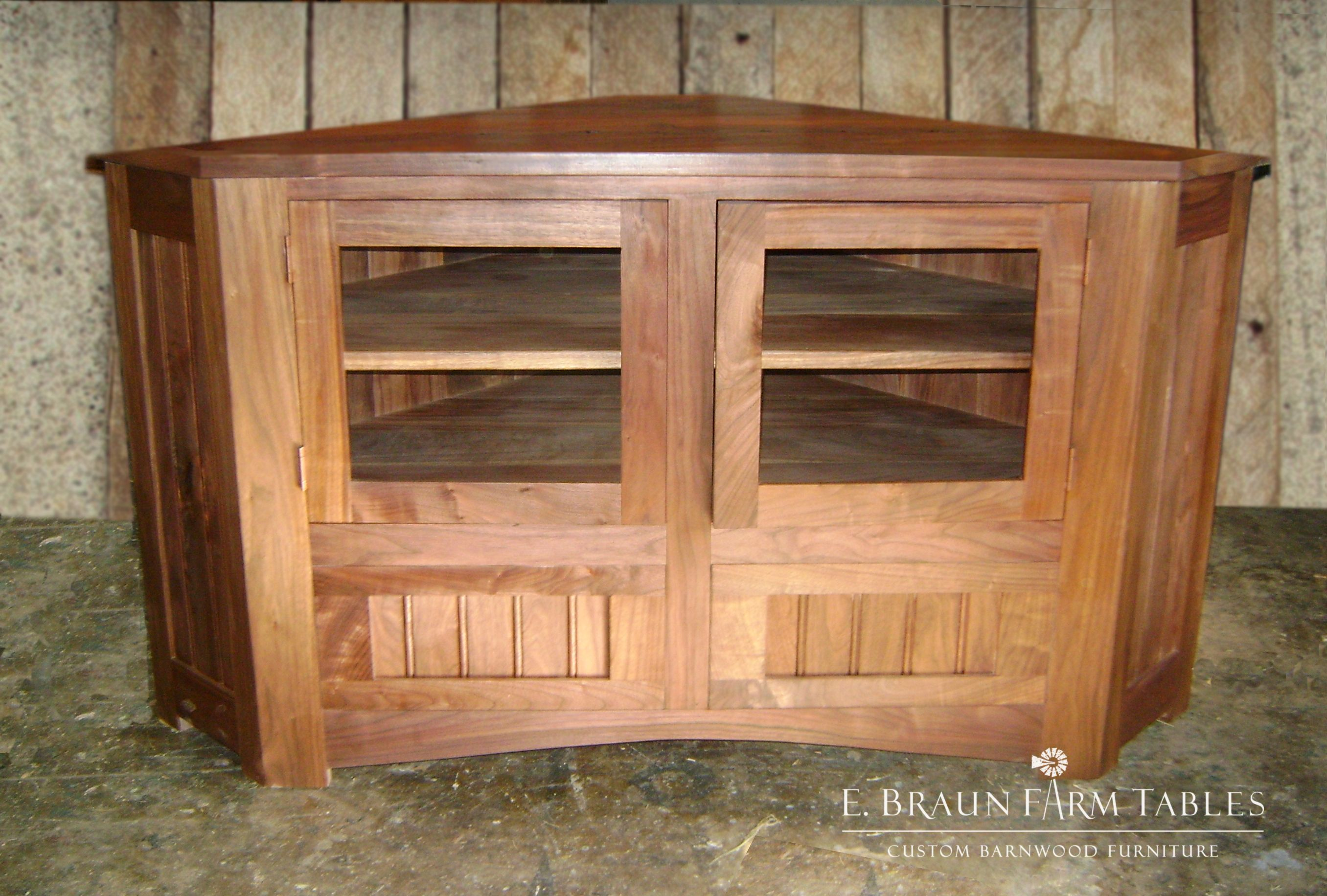 Make The Best Use Of Often Overlooked Space With This Corner Cabinet Tv Stand Handcrafted Using Reclaimed Bar Farm Table Reclaimed Barn Wood Barnwood Furniture