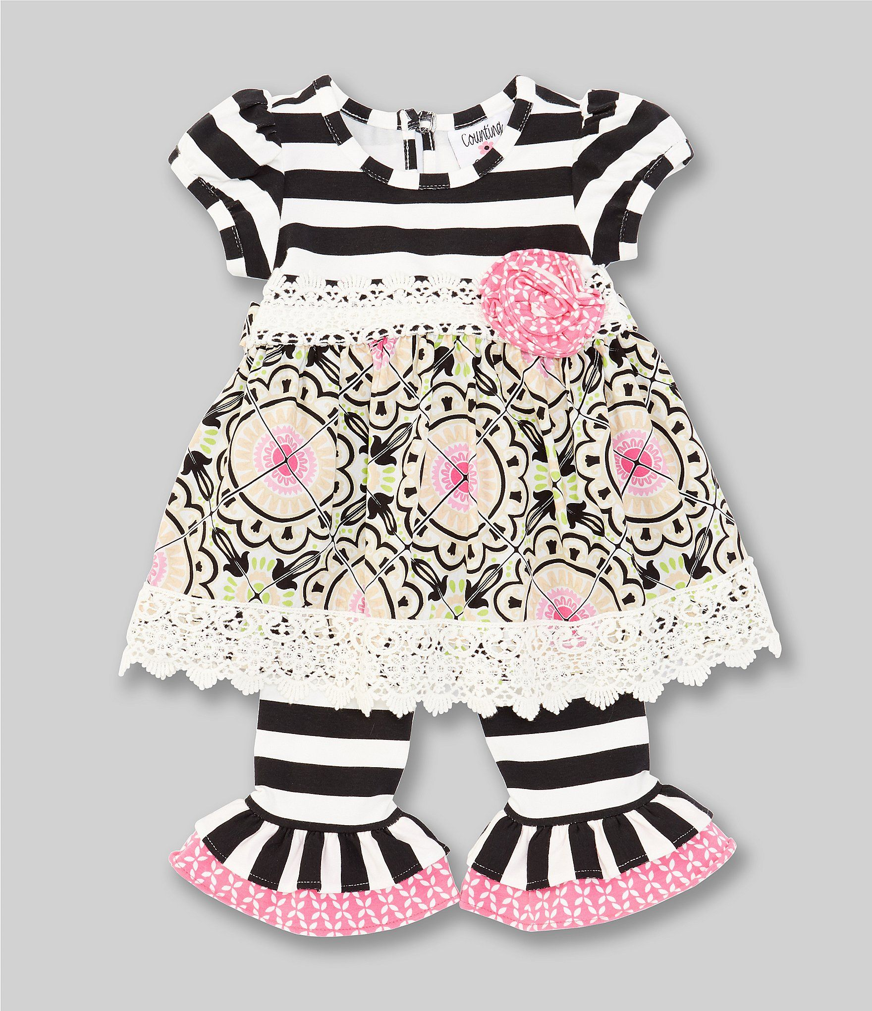 Counting Daisies Baby Girls 3-9 Months StripedMixed-Media Dress  Striped Leggings Set - Black 9 Months #stripedleggings