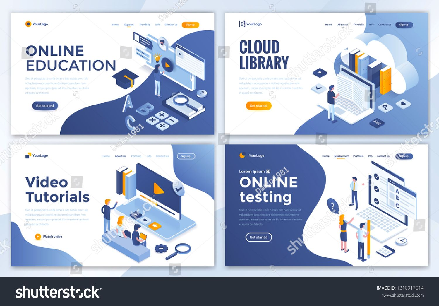 Set Of Landing Page Design Templates For Online Education Cloud Library Video Tutorials And Online Testing E Landing Page Web Development Design Page Design