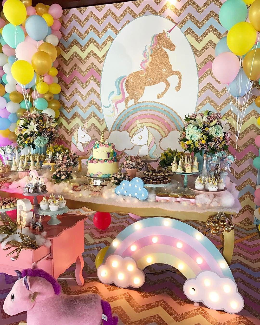 Festa infantil de unicórnio 50 ideias para voc u00ea se inspirar Bebe com br decoraç u00e3o Litte  -> Decoração De Festa Unicórnio Infantil