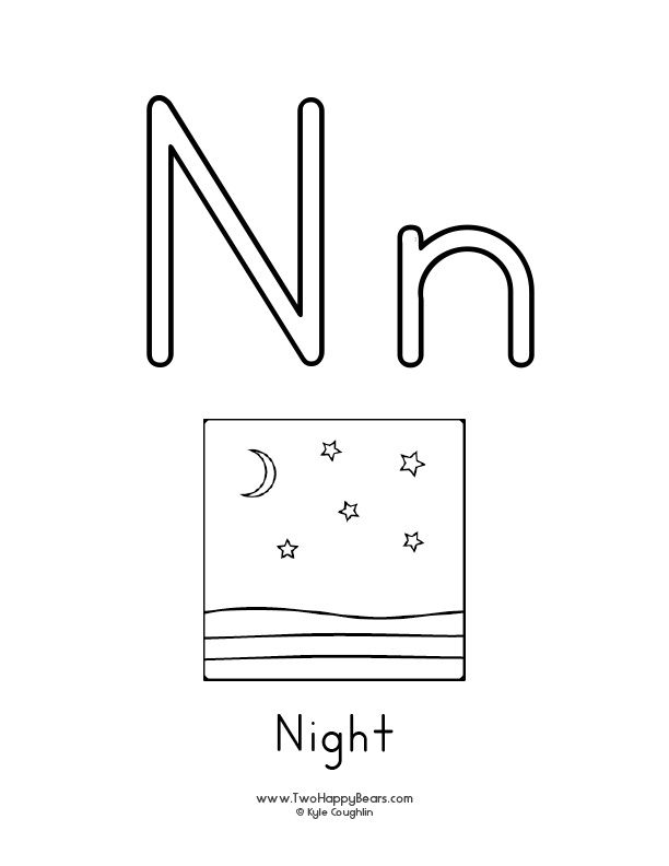 Free printable coloring page for the letter N, with upper and lower