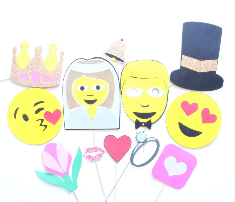 12pc Wedding Emoji Photobooth Props Emoji Inspired Photobooth